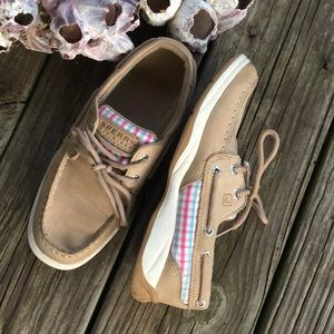 Sperry Gintrepid Girls Plaid& Leather Shoes Sz 2